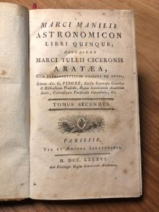 Marci Manilii Astronomicon libri quinque – 1786