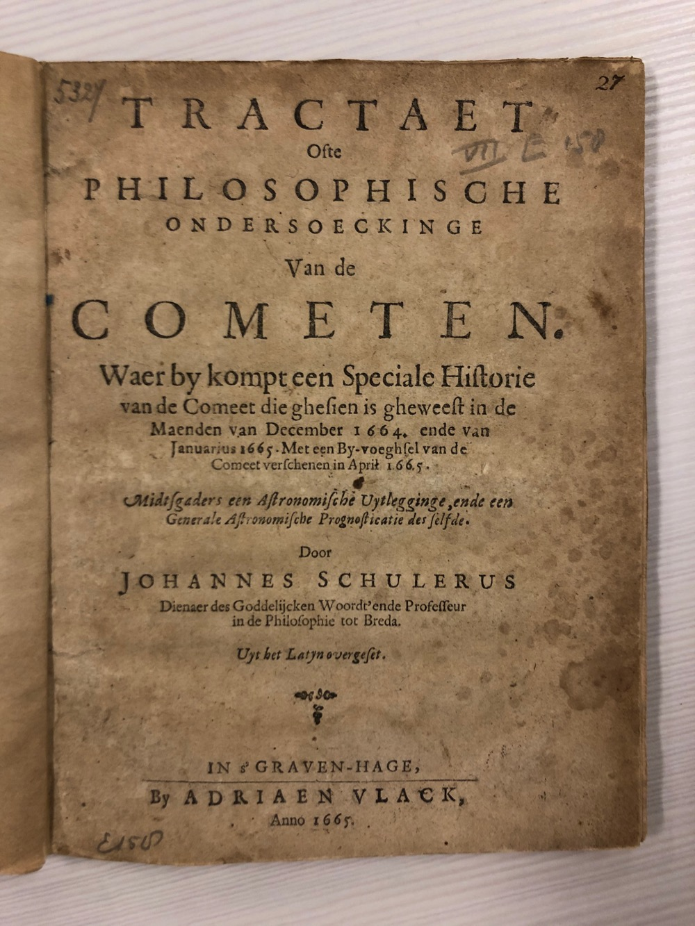 Ondersoeckinge van de Cometen – 1665 INGEZIEN