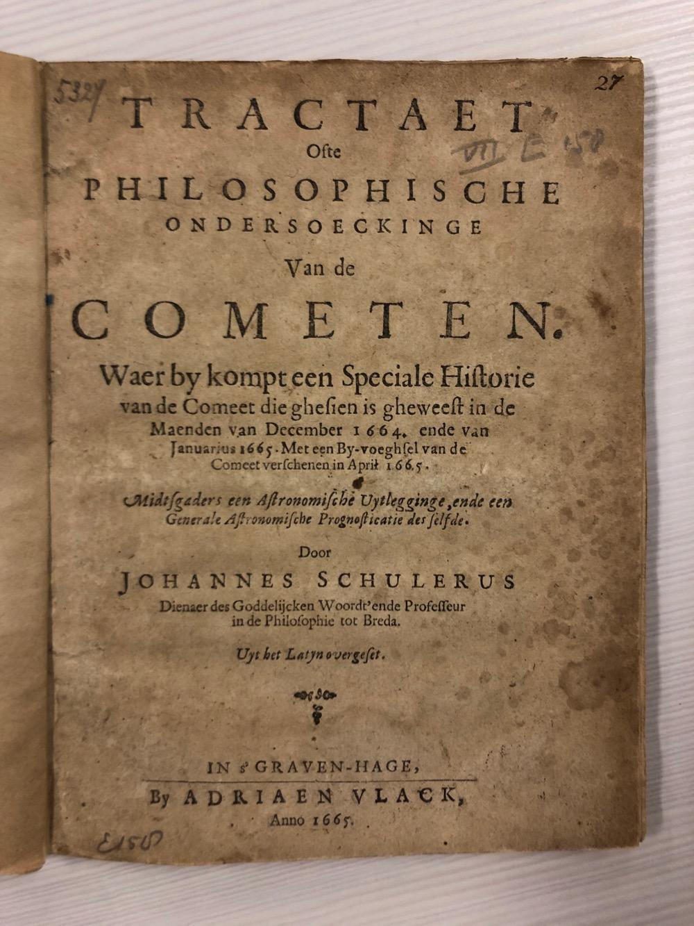 Je bekijkt nu Ondersoeckinge van de Cometen – 1665 INGEZIEN