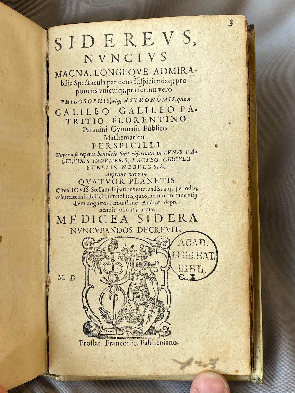 Sidereus Nuncius 1610/1653 – INGEZIEN