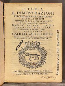 Historia e dimostrazioni intorno alle Macchie Solari – 1613 INGEZIEN